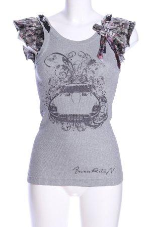 Anna Rita N Top met franjes lichtgrijs-zwart gestippeld casual uitstraling