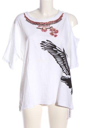 Anna Rita N Slip-over blouse wit-zwart prints met een thema casual uitstraling