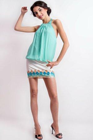 Anna Rita N Sukienka z dekoltem typu halter turkusowy Poliester
