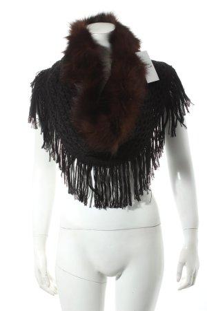 Anna Rita N Poncho zwart-roodbruin klassieke stijl