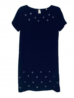 Anna's Dress Affair Jurk met korte mouwen donkerblauw-zilver Viscose