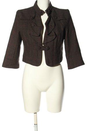 Anna Scott Blazer court brun-noir motif à carreaux style décontracté
