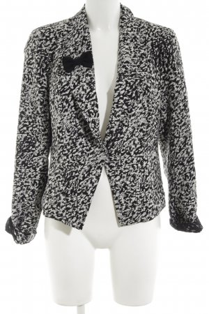 Anna Scott Blazer court noir-blanc imprimé allover style d'affaires