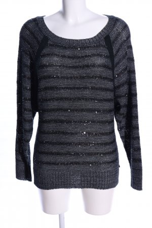 Anna Scott Knitted Sweater light grey-black allover print casual look