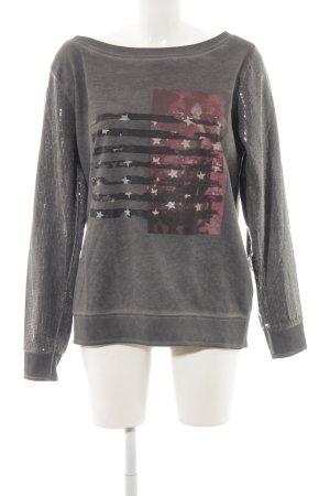 Anna Scott Sweatshirt karmijn-donkergrijs prints met een thema