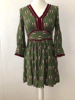Anna Sui - Grüngemustertes Babydoll Kleid in Gr. 4 (Dt.36)