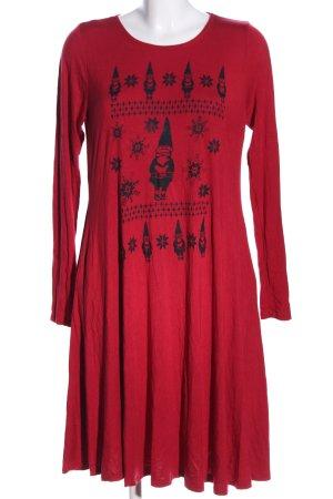 Annabelle Langarmkleid rot-schwarz Motivdruck Casual-Look