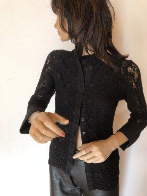 Anne Fontaine Bluse Spitzte Hemd schwarz 34