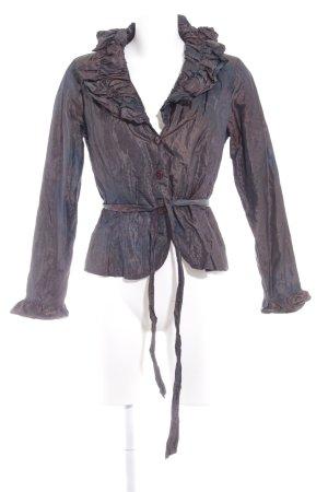 Anne Fontaine Blouse à manches longues brun noir-bleu cadet motif de fleur