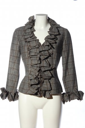 Anne Fontaine Between-Seasons Jacket light grey-brown check pattern casual look