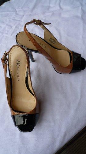 Anne Klein High Heel Sandalette mit Plateau Lackleder schwarz/camel Gr. 35 NEU