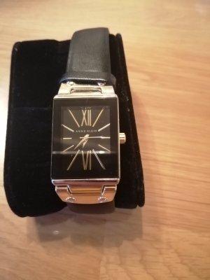 Anne Klein Horloge met lederen riempje zwart-goud