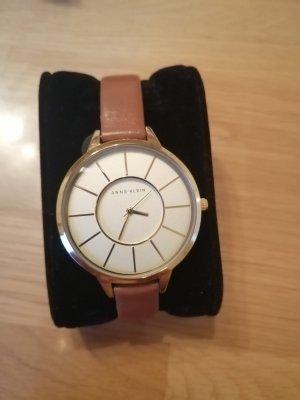 Anne Klein Horloge met lederen riempje goud-bruin