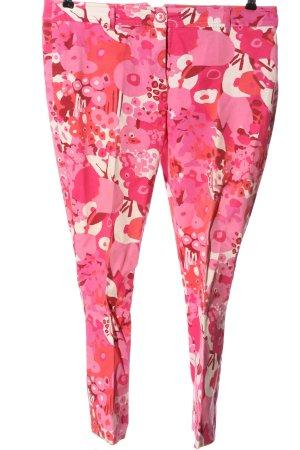 Anne L. Pantalon 7/8 rose-blanc motif abstrait style décontracté