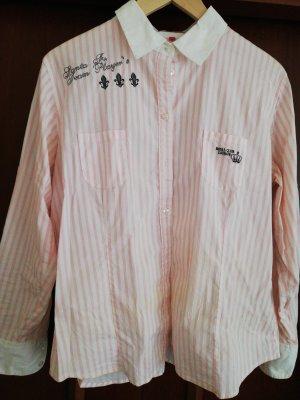 Anne L. Koszulowa bluzka biały-jasny różowy Bawełna