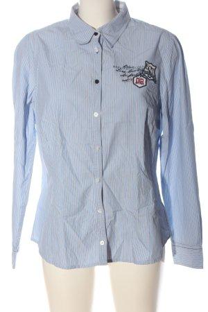 Anne L. Shirt met lange mouwen blauw-wit geborduurde letters casual uitstraling