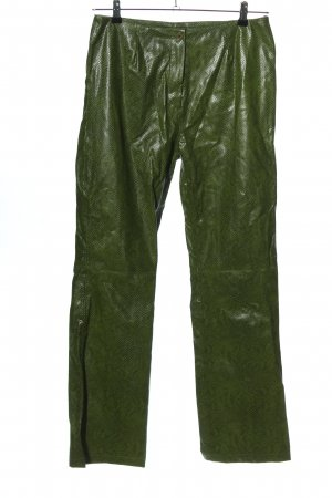 Anne L. Stoffhose grün Animalmuster extravaganter Stil