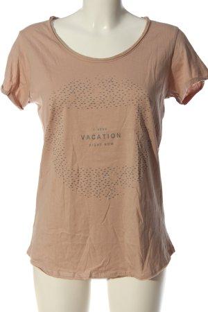Anne L. T-shirt color carne Stampa a tema stile casual