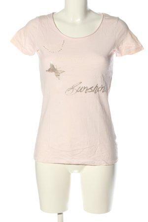 Anne L. T-shirt kremowy Nadruk z motywem W stylu casual