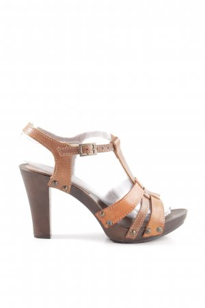 Anne L. T-Strap Sandals brown-light orange casual look