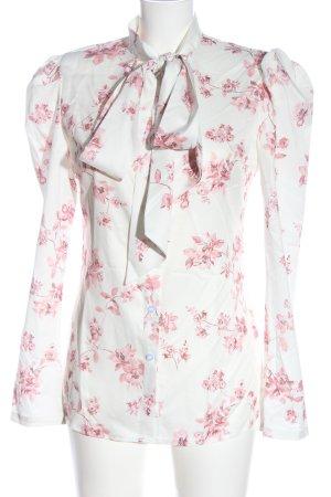 Anne Louise Boutique Blusa con lazo blanco-rosa elegante