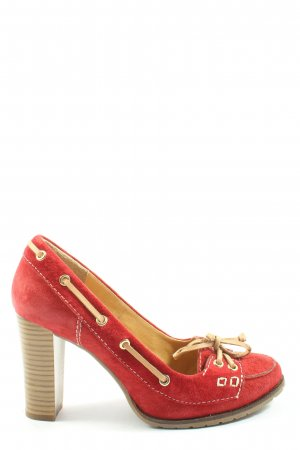 annel Chaussure à talons carrés rouge-blanc cassé style décontracté