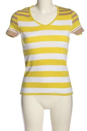 annel Gestreept shirt sleutelbloem-wit gestreept patroon elegant