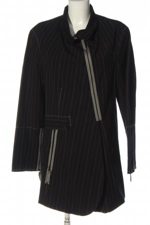 Annette Görtz Between-Seasons-Coat black-light grey striped pattern casual look