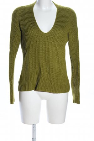 Annette Görtz Wool Sweater khaki cable stitch business style