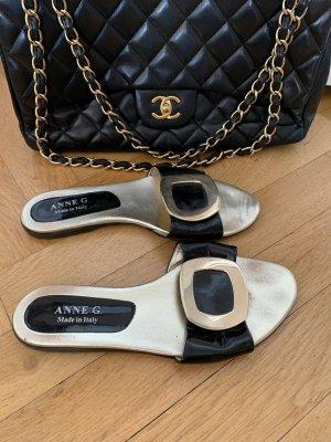 Sandały japonki czarny-złoto Skóra