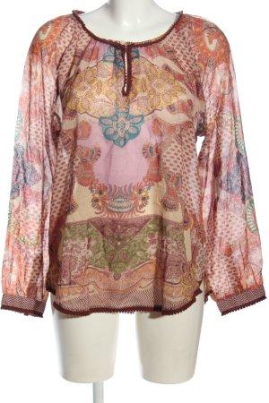Anokhi Blouse met lange mouwen roze-bruin abstract patroon casual uitstraling