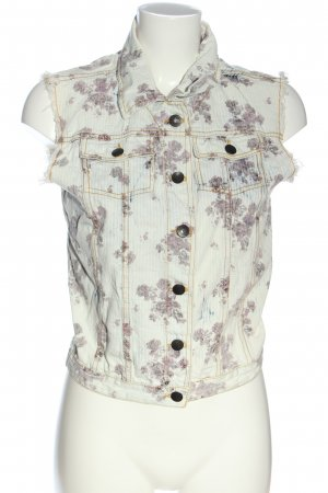 anonymato Smanicato jeans bianco sporco-lilla stampa integrale stile casual