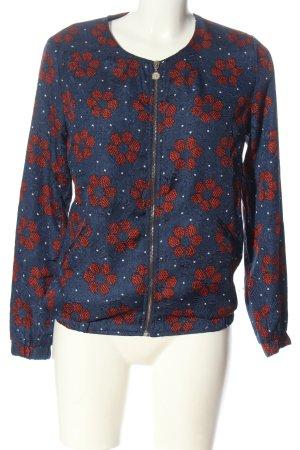 ANONYME Blousje blauw-rood volledige print casual uitstraling