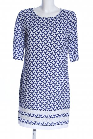 Anonyme Designers A-Linien Kleid weiß-blau Allover-Druck Casual-Look