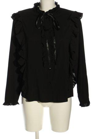 Anonyme Designers Bluzka z falbankami czarny W stylu biznesowym