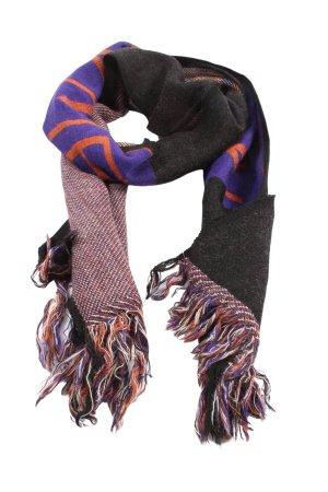 ANONYME Sciarpa con frange nero-lilla motivo a righe stile casual