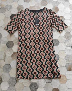 Anonyme Kleid Kurzarm schwarz rosa grün geblümt Neu mit Etikett Gr. S