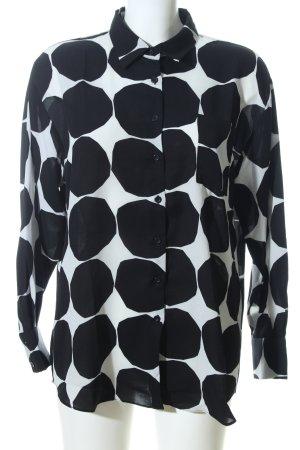 ANONYME Langarm-Bluse schwarz-weiß Allover-Druck Casual-Look
