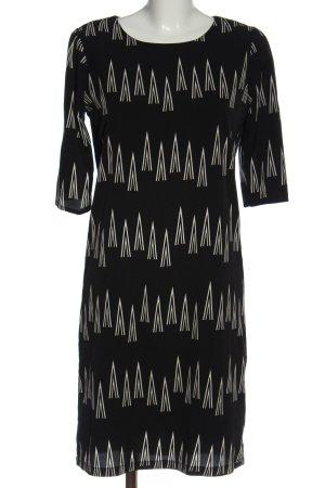 ANONYME Midi-jurk zwart-wolwit grafisch patroon casual uitstraling