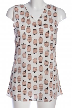 ANONYME Mouwloze blouse wit-nude volledige print casual uitstraling