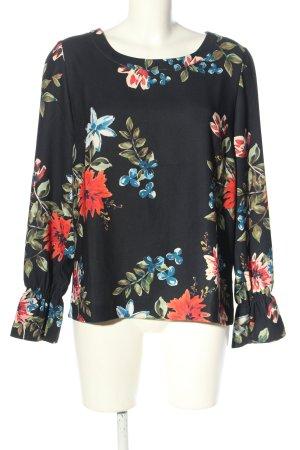 Another Label Tunique-blouse noir-rouge imprimé allover style décontracté