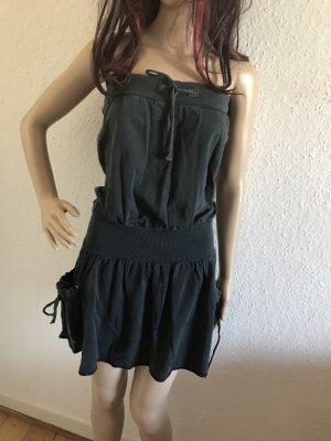 Anthrazit Kleid vintage dress Tunika bandeau Sommerkleid S-M 36