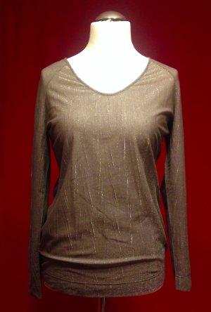 Anthrazit-Silbernes Glitzer-Transparenz Shirt