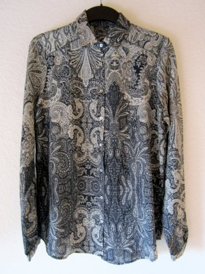 Anthrazitfarbene Bluse mit Paisley-Muster