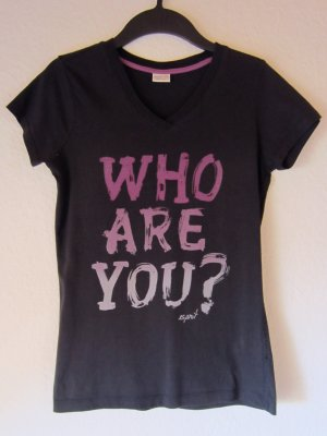 "Anthrazitfarbenes T-Shirt mit Statement-Print ""Who are you?"""