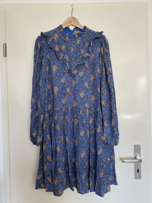 Anthropologie Maria Blaues Bedrucktes Tunikakleid Langarm Minikleid Damen 38