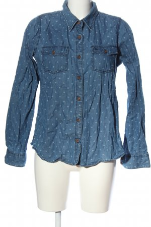 Anti Blue Denim Shirt blue spot pattern casual look