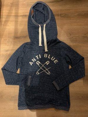 Anti Blue Pullover Kragen Kapuze L 38 M blau weiß creme ähnlich Naketano