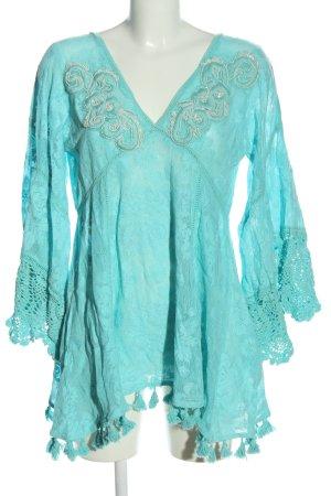 Antica Sartoria Blouse à manches longues turquoise style décontracté