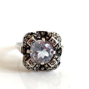 Antik Aquamarin Markasiten Silberring Jugendstil Art Deco 800 Silber ring Brillant Schliff